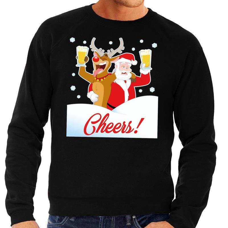 Foute Heren Kersttrui.Foute Kersttrui Cheers Met Dronken Kerstman En Rudolf Voor Heren In